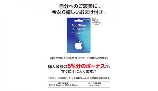 [iTunes]App Store & iTunes ギフトカード  バリアブルを購入&利用で5%分のボーナスがもれなくもらえるキャンペーン|2019年2月28日(木)まで