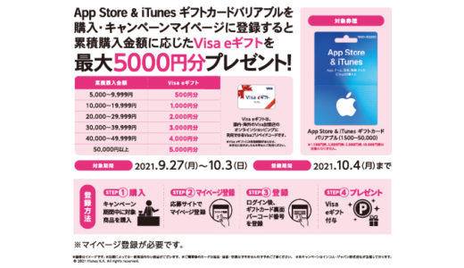 [iTunes] セブン‐イレブン限定!App Store & iTunes ギフトカード バリアブル購入でVisa eギフトが最大5,000円分もらえるキャンペーン!|2021年10月3日(日)まで